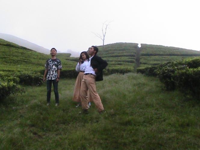 Bersama Natassa dan Yopi di kebun teh, Lembang seusai Final LKTI BFUB UPI. Sumber: Mugni