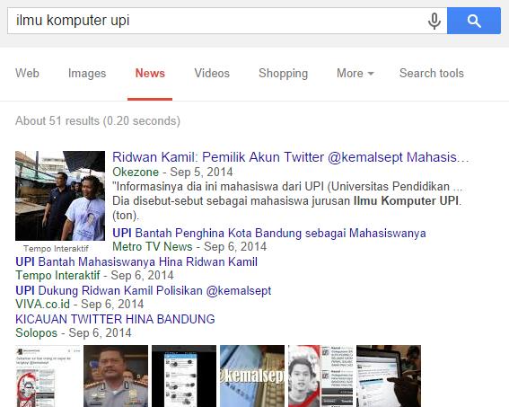 """Hasil pencarian """"Ilmu Komputer UPI"""" pada Google bagian News."""